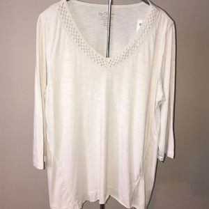 Chico's Chloe Crochet Blouse Size 2 or or Large